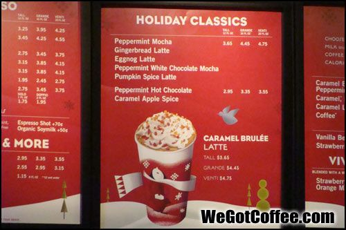 Starbucks holiday menu board