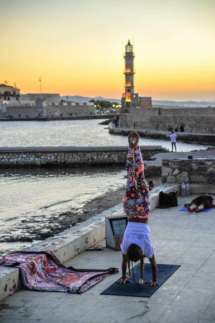 Yoga in old port Chania.. I love Crete!! ❤️🙏🏼