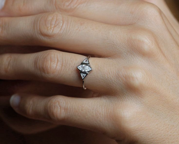 Marquise Diamond Engagement Ring , Trillion Diamond Ring, Wedding Ring in 14k gold by capucinne on Etsy https://www.etsy.com/listing/206501039/marquise-diamond-engagement-ring