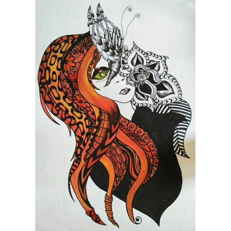 zentangle and psychedelic drawing alien girl