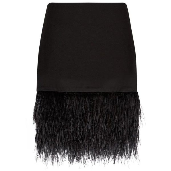 Polo Ralph Lauren Ostrich Feather Trimmed Skirt ($435) ❤ liked on Polyvore featuring skirts, mini skirts, embellished skirt, short mini skirts, holiday skirts, cocktail skirt and polo ralph lauren