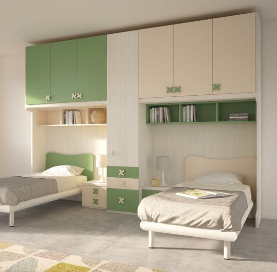 غرف نوم اطفال بسريرين ودولاب كلاسيك Apartment Bedroom Design Kids Room Furniture Modern Kids Room