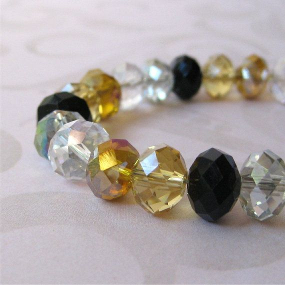 Bracelet gold amber black and clear glass by planettreasures