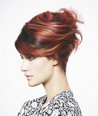 A Long Brown straight updo side-parting multi-tonal womens hairstyle by Schwarzkopf