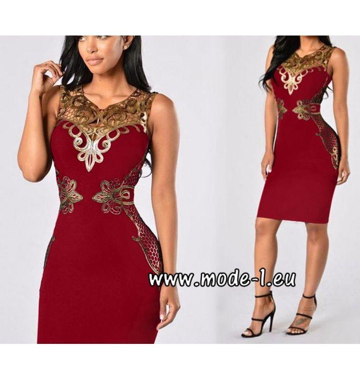 Bodycon Kleid in Rot mit Applikationen