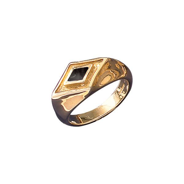 W Hamond Ring Whitby Jet And 9ct Yellow Gold Diamond Shape Signet #whamond #rings