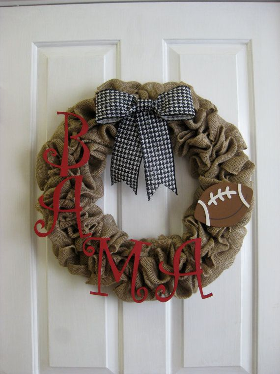 Alabama Football Burlap Wreath Custom Made to Order