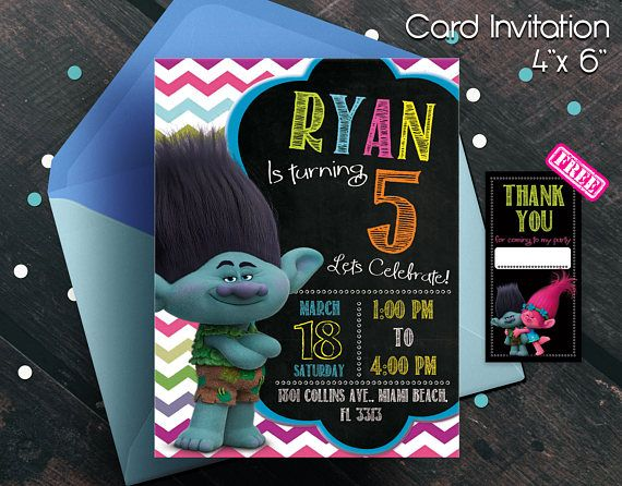 Trolls invitation, trolls movie invitation, invitation, invitacion de trolls, cumpleaños de trolls, trolls movie, trolls birthday party, boy