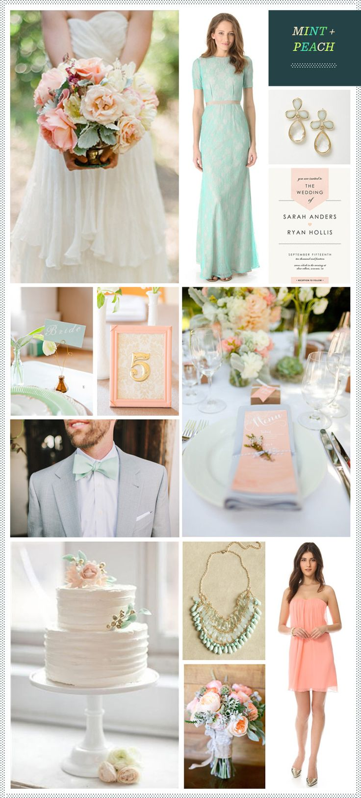 Mint + Peach Wedding Inspiration. The top right dress is pretty but the others I dislike.