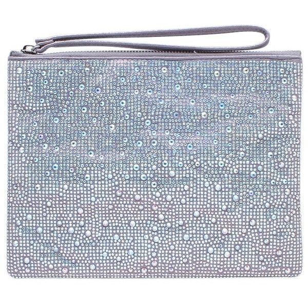 Carvela Gaye Clutch Bag ($92) ❤ liked on Polyvore featuring bags, handbags, clutches, silver, sequin clutches, silver purse, silver handbags, evening purses clutches and blue handbags