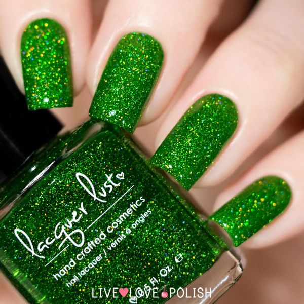 Lacquer Lust Poison Ivy is a vibrant green jelly polish packed with holographic microglitter.