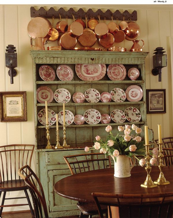 English Country - copper pots and transfer ware in old green distressed hutch