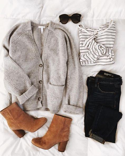 Grey cardigan, black striped white t-shirt, black skinny jeans, cognac booties #…