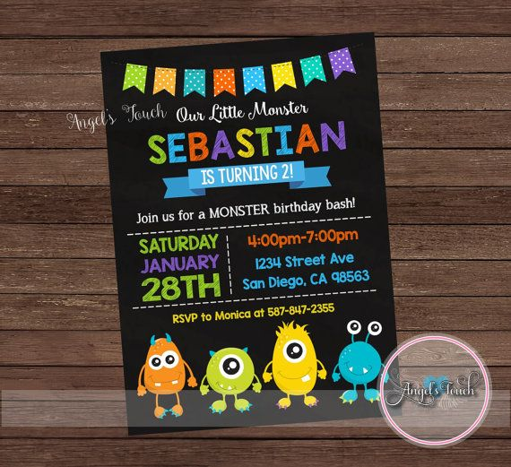 Monster Party Invitation, Little Monster Birthday Invitation, Little Monster Birthday Party Invitation, Monstes Invitation, Digital File