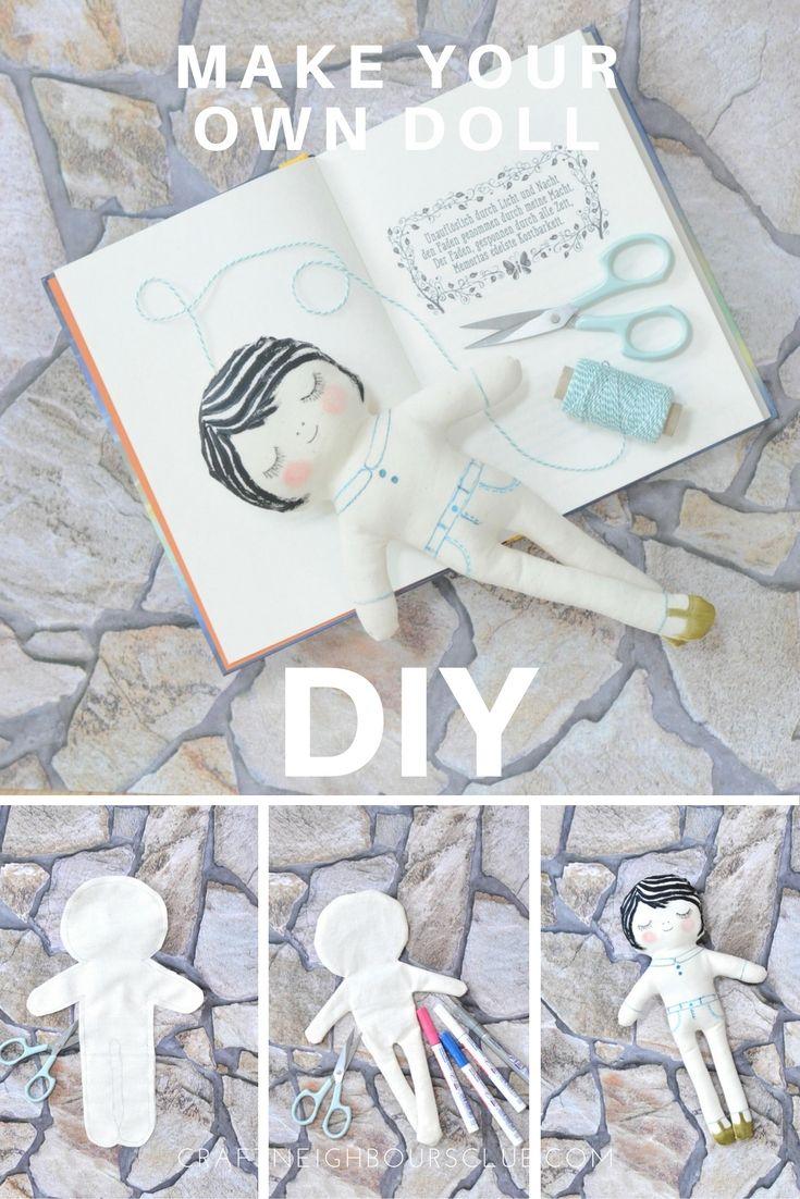 DIY Anleitung mit Download für eine selbstgemachte Puppe aus Stoff