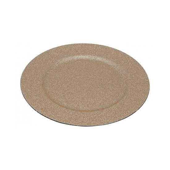 Glitter gouden onderzet borden  Gouden onderzet bord met glitters. Onderzet bord in de kleur goud met een diameter van ongeveer 33 cm. Goud glitter bord bijvoorbeeld leuk om kaarsen op te zetten. Materiaal: kunststof.  EUR 4.50  Meer informatie
