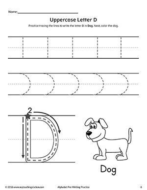 uppercase letter d pre writing practice worksheet pre. Black Bedroom Furniture Sets. Home Design Ideas