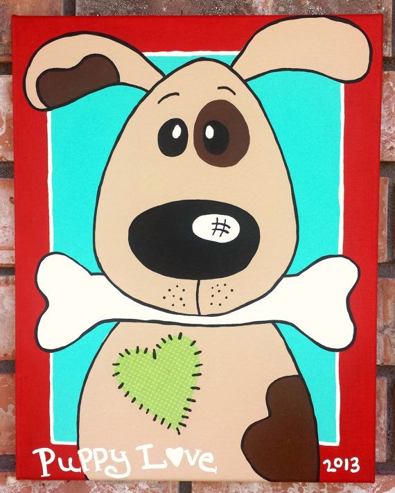 animal nursery puppy dog art dog painting by wall candy by jackie wwwwallcandybyjackie - Animal Painting For Kids