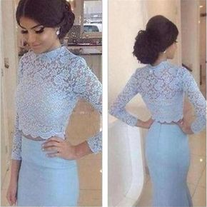 Long Sleeves Prom Dresses, Two Pieces Prom Dresses,Blue Long Prom Dres – LoverBridal
