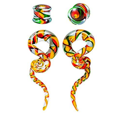 BodyJ4You® Glass Gauges Kit Twisted Ear Tapers Plugs Green Orange Red Ribbon 00G 10mm Piercing Jewelry