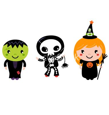 Cute halloween kids - zombie skeleton and witch vector 1633460 - by lordalea on VectorStock®