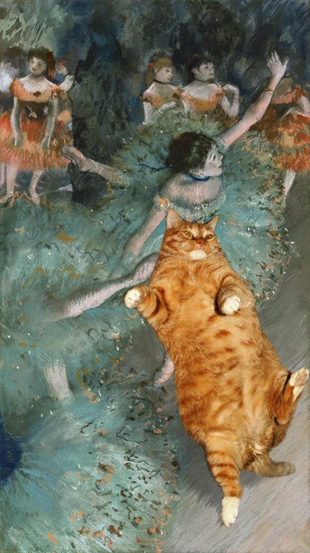 The world of fine art collides with a fat ginger kitty! Click to see more world famous masterpieces with the cat (Zarathustra)  http://www.pauseandplay.co.uk/fine-art-masterpiece-collides-with-a-fat-ginger-cat/