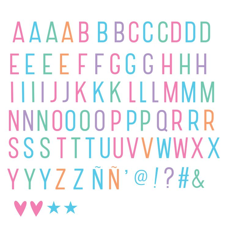 Letter Pack for Lightbox - Pastel / Colours (Includes hearts, stars & other symbols)