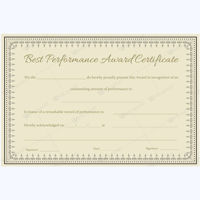 14 best Best Performance Award Certificate Templates images on - Award Paper Template