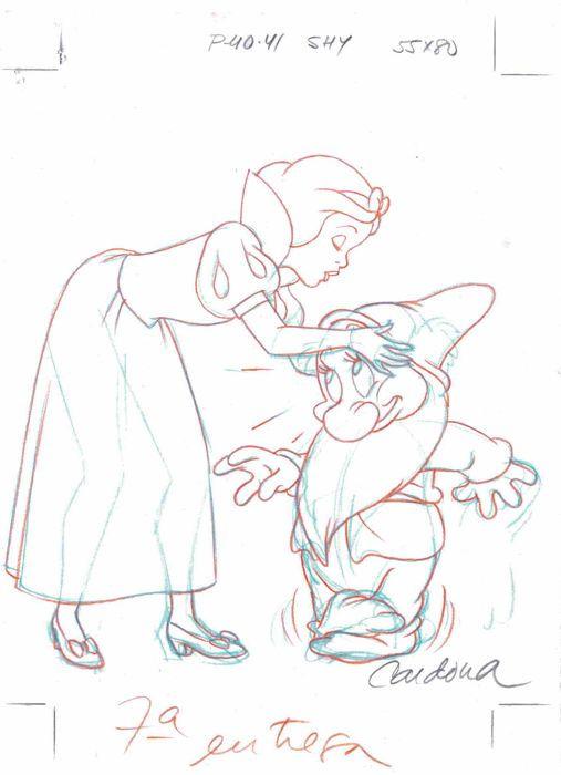 Cardona, Josep Maria - Original production drawing - Snow White and Bashful - Disney Classics - W.B.