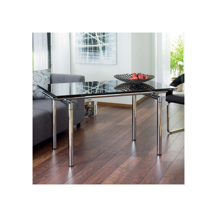 Double extending glass dining table black