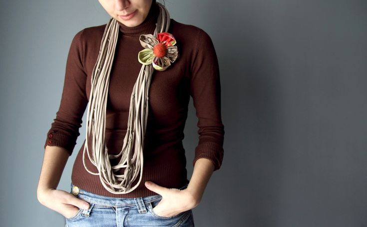 Infinity SCARF NECKLACE in cream and light brown with extra flower brooch. $20.00, via Etsy.