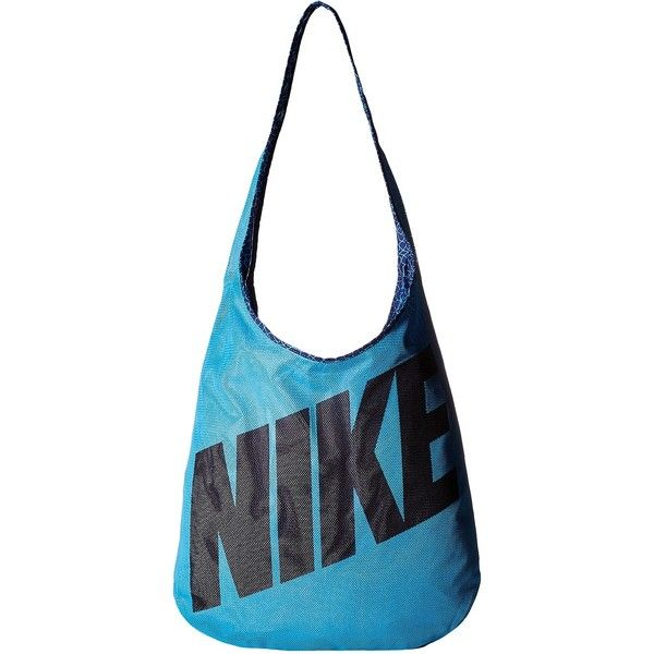 Nike Graphic Reversible Tote (Omega Blue/Deep Royal/Black) Tote... ($28) ❤ liked on Polyvore featuring bags, handbags, tote bags, blue, nike tote, handbags totes, blue totes, over the shoulder purse and mesh tote bag