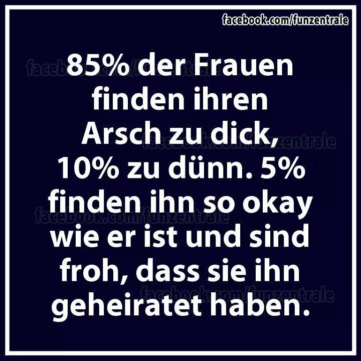 Flachwitz 75: 85% der Frauen finden ihren Arsch zu dick, 10% zu dünn. 5% finden ihn so okay wie er ist und sind froh, dass sie ihn geheiratet haben.