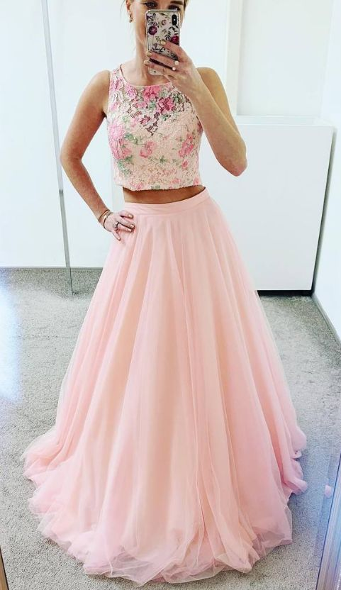 Two Piece Multi-Color Scoop Lace Prom Dress