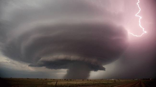 Supercell and lightning near Adrian, Texas