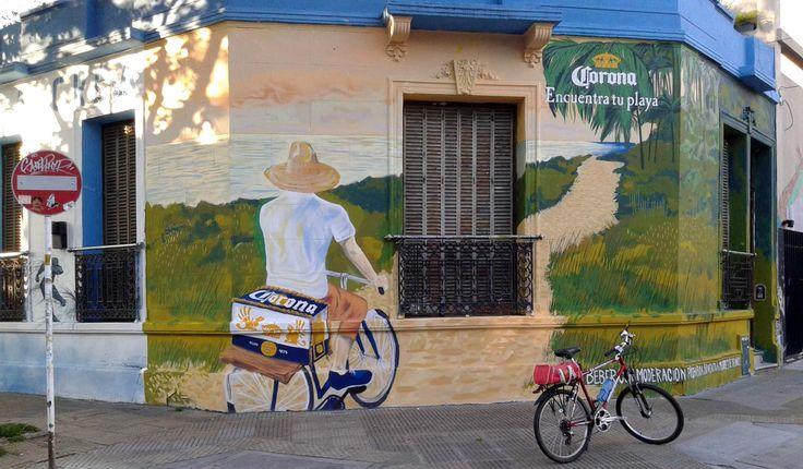 """Propaganda de cervezaCoronaB° de Palermo  4°35'19.4""""S 58°26'02.3""""W"""