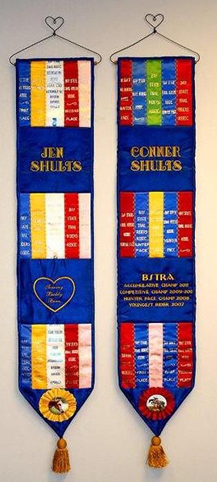Horse Show ribbons made into wall hangings. Love it!                                                                                                                                                      More