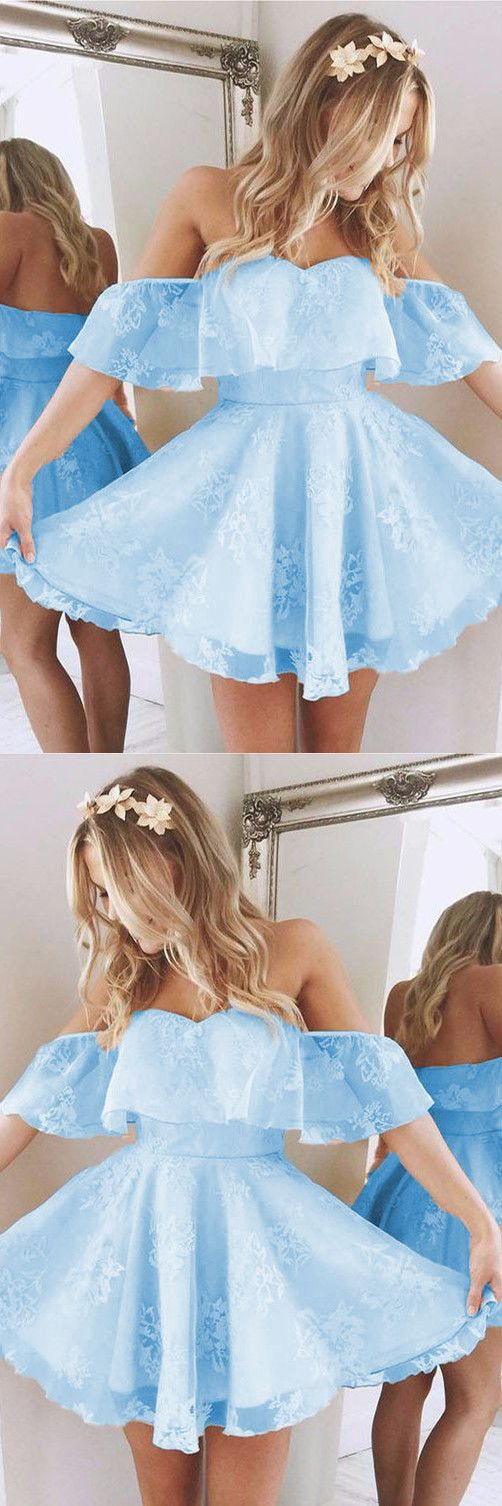 Baby Blue Homecoming Dresses,Short A Line Prom Dresses,Ruffles Shoulder Dress,Cute Party Dress,Summer Dresses,Semi Formal Dress
