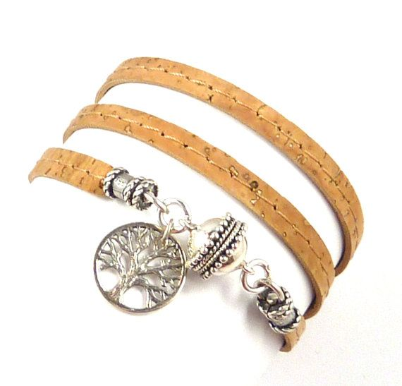 Cork Wrap Bracelet with Sterling Tree of Life by charmeddesign1012, $68.00