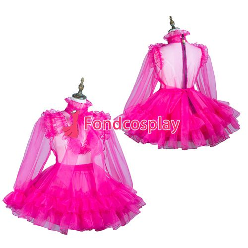 Sissy maid hot pink organza dress lockable Uniform costume Tailor-made[G3732] #Sissy maids http://www.ku-ki-shop.com/shop/sissy-maids/sissy-maid-hot-pink-organza-dress-lockable-uniform-costume-tailor-made-g3732/