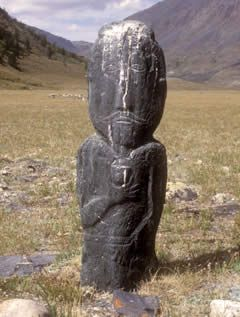 Archaeology and Landscape in the Altai Mountains of Mongolia | Southmost figure, Black stone | Turkic period