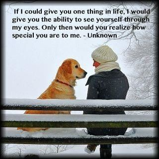 """The repinterer said:  """"Touching and precious all in one. The expression on the golden retriever's face is beyond words. It just warms the soul.""""   Say what you feel without embarrassment or pulling your punches when the thought about another is uplifting and encouraging."""