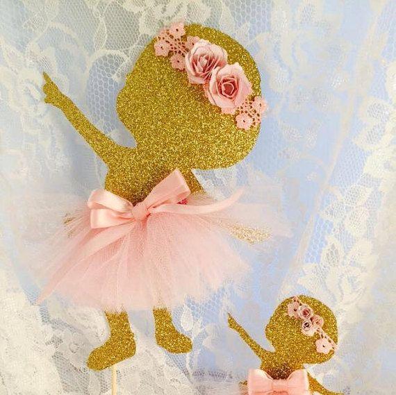 Baby Girl Ballerina Cake Topper - Baby Girl Ballerina Cupcake Toppers - Ballet - Baby Shower - Birthday - Customized - Decorations - Mom