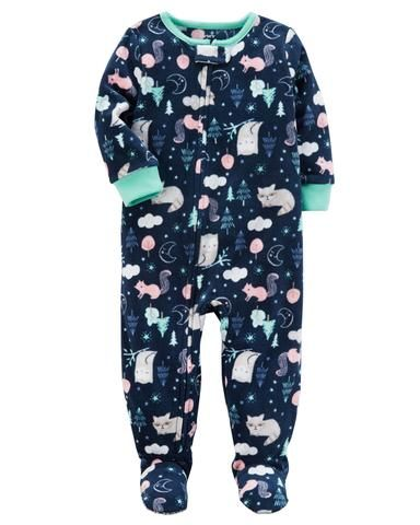 c5600f9f5 Carter's Forest-Print Footed Fleece Sleep & Play Pajamas, Baby Girls (6  Months -5T) 1-Piece