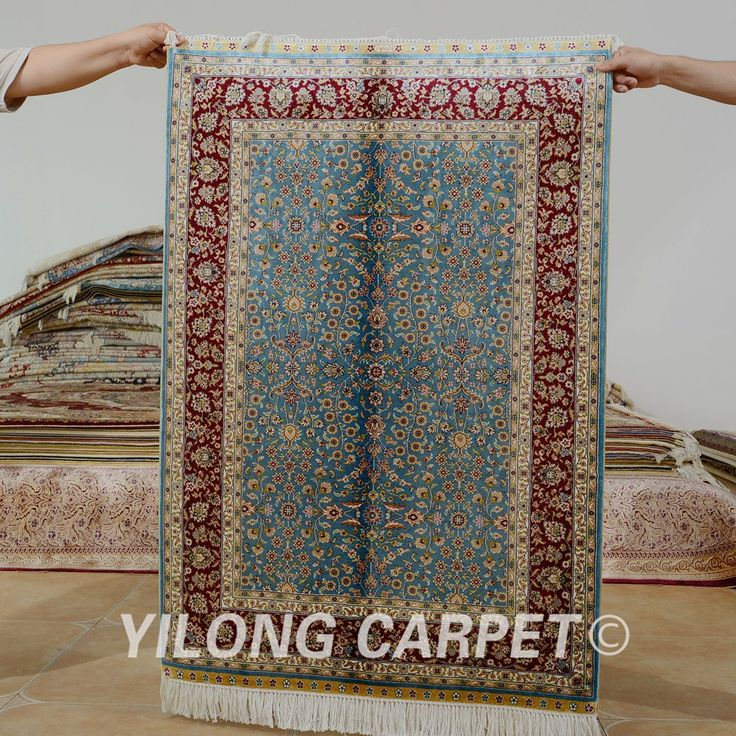 Yilong 2.7'x4' Hereke silk carpet sky blue…
