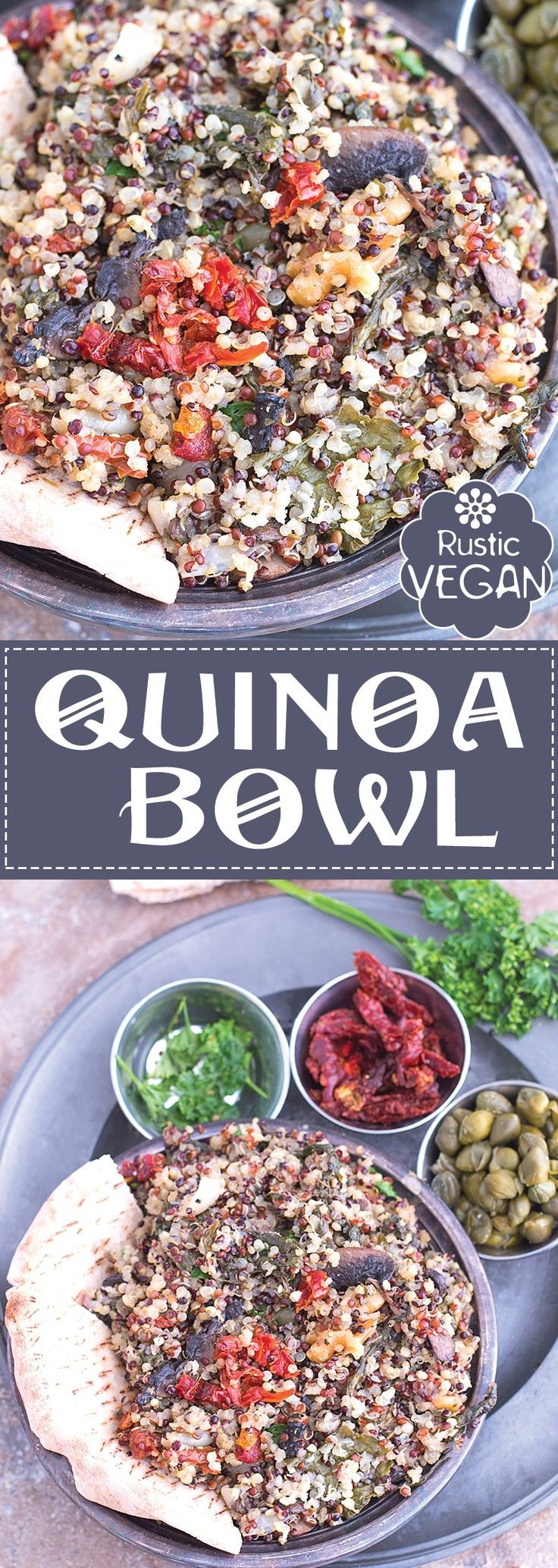 Quick and easy Rustic Quinoa Bowl made with TruColor's Tricolor Sprouted Quinoa. I made it for lunch and put it into a pita bread. It was unbelievably delicious!! | vegan recipes, vegan lunch, comfort food, meal prep, make ahead recipes