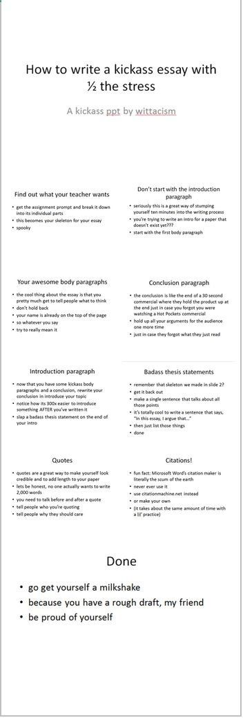 Business Strategy Essay How To Write A Kickass Essay Literally The Best Powerpoint Ever Created How To Write Essay Papers also Argumentative Essay Topics On Health Best  Essay Writing Ideas On Pinterest  Essay Writing Tips  My English Essay