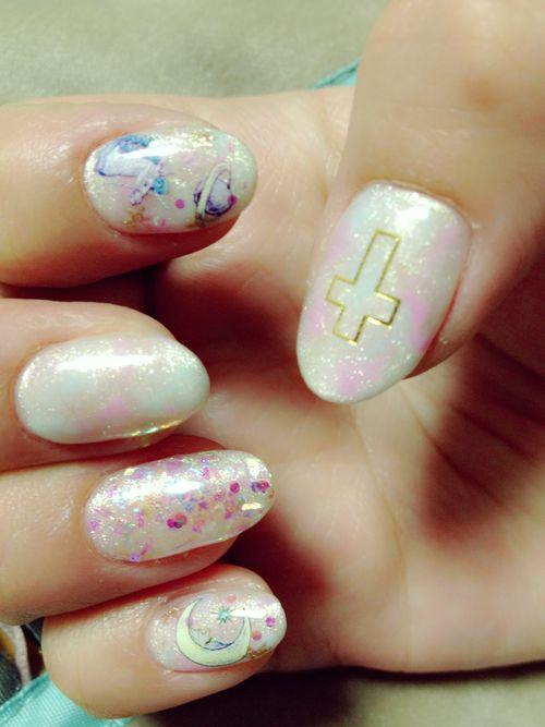 soft grunge confetti cross nails