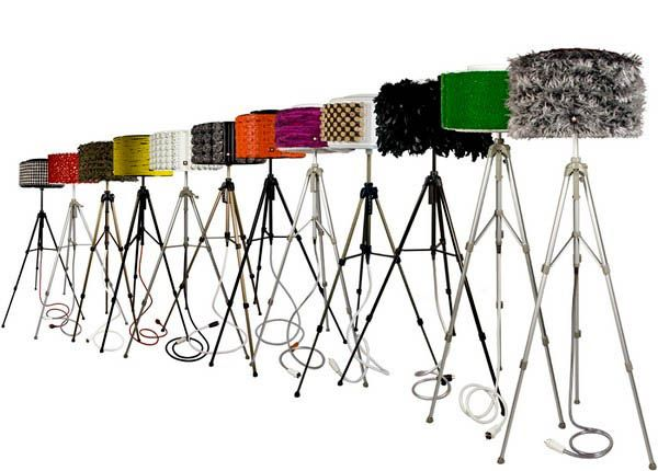 Camera tripods and broken washing machines can be blended into unusual and creative contemporary floor lamps for unique interior decorating. Decluttering homes and recycling clutter items for making s