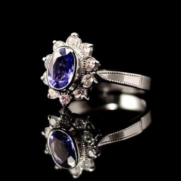 Ceylon sapphire 1.26ct with diamonds in white palladium gold 14K engagement ring.